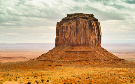 geologic: Merrick Butte Under Cloudy Skies - Monument Valley, Navajo Tribal Park, Arizona
