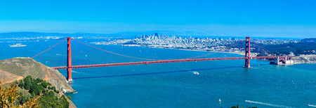 Panoramic View, Golden Gate Bridge and City of San Francisco