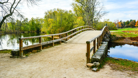 Historic Old North Bridge, Site of First Battle of War of Independence - Concord, MA