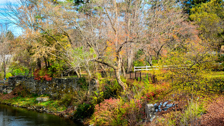 woodstock: Autumn Scenery by the Ottauquechee River - Woodstock, Vermont Stock Photo