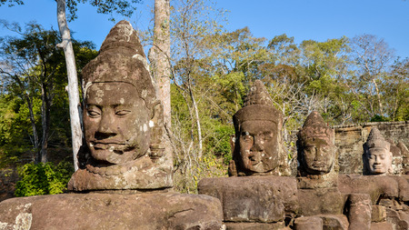 anthropological: Devas (guardian gods) by South Gate Entrance to Angkor Thom, Cambodia Stock Photo