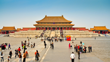 Local and Foreign Tourists Visit the Hall of Supreme Harmony Forbidden City Beijing Editorial