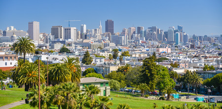 Downtown San Francisco as Seen From Dolores Park Stock Photo