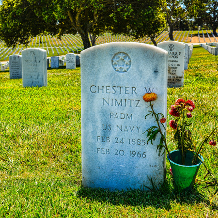 admiral: Headstone, Adm. Chester Nimitz. A Fleet Admiral of the US Navy, Adm. Nimitz played a major role in World War naval history as Commander in Chief, US Pacific Fleet.