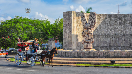 homeland: Foreign tourists visit the Homeland Monument, Merida, Mexico