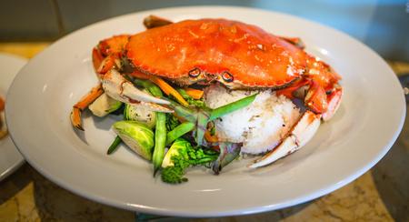 dungeness: Food - Crab, Rice and Veggies Stock Photo