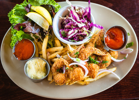 Food - Fried Jumbo Prawns and Chips