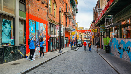 nicknamed: San Francisco, CA, USA - June 13, 2015: Historic Wentworth Alley, San Francisco Chinatown. This alley was nicknamed Salty Fish Alley, after the dried and salted goods sold there in the early 1900s.