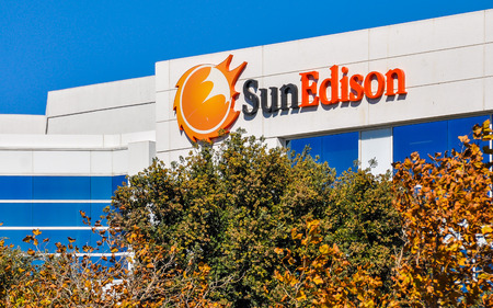 Belmont, CA, USA - Oct. 11, 2015: SunEdison Company. SunEdison is the worlds largest renewable energy development company, with more than 3,300 employees worldwide.