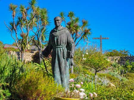 Carmel, CA, USA - Oct-20-2015: Statue, Father Junipero Serra. Father Serra was a Catholic Franciscan friar who founded the first nine of 21 Spanish missions in California from San Diego to San Francisco.
