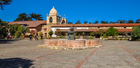 Carmel, CA, USA - Oct-20-2015: Courtyard, Carmel Mission. Carmel Mission is the 2nd of the 21 missions built by Franciscan missionaries in upper California. It is a national historic landmark.