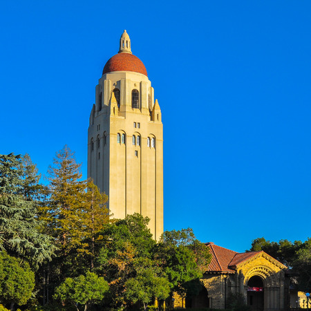 Palo Alto, CA, USA - Sep-17-2015: Stanford University Hoover Tower. Completed in 1941, the 50th year of Stanford University's anniversary, the tower was inspired by the cathedral tower in Salamanca, Spain. Editorial