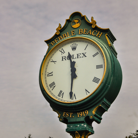 Pebble Beach, CA, USA - Dec. 5, 2015: Rolex outdoor clock on Dec. 5, 2015. Rolex is a luxury watch brand, generating revenues of about US7.4 billion in 2012.