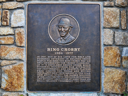 Pebble Beach, CA - Dec. 5, 2015: Bing Crosby Plaque. Bing Crosby was an American singer, actor and avid golfer. His warm bass baritone voice made him one of the best selling singers of the 20th century.
