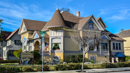 Salinas, CA, USA - Dec. 23, 2015: Childhood home of John Steinbeck. He authored 27 books, subsequently winning the 1940 Pulitzer Prize for Fiction and the 1962 Nobel Prize in Literature. Editorial