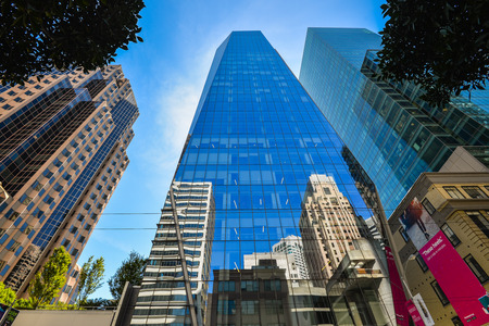 San Francisco, CA - Sep. 06, 2015: 535 Mission Street. Completed in 2014, this building is a 27-storey office skyscraper in the South of Market district of San Francisco.