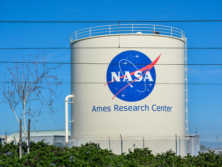 Mountain View, CA, USA - Feb. 21, 2016: NASA Ames Research Center. Commonly known as NASA Ames, this facility is a major NASA research center at Moffett Airfield in Californias Silicon Valley.