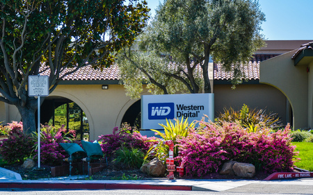 Mountain View, CA, USA - Feb. 21, 2016: Western Digital Corp. Western Digital is a leading provider of best-selling internal  external hard drives and award-winning media player  network drives.