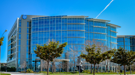 Sunnyvale, CA, USA - Feb. 21, 2016: Hewlett Packard Enterprise. HPE makes make IT environments more efficient, productive  secure, enabling fast, flexible responses to rapidly changing competitions.