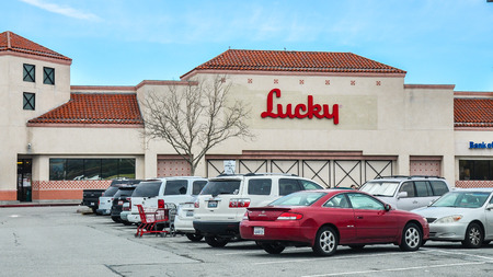 San Carlos, CA, USA - Jan. 10, 2016: Lucky Store. Lucky Stores is an American supermarket chain founded in San Leandro, CA in 1935 and now headquartered in Modesto, CA. Editorial