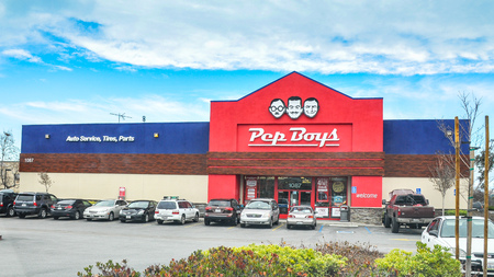 aftermarket: San Carlos, CA, USA - Jan. 10. 2016: Pep Boys Store. Founded in Philadelphia, Pennsylvania in 1921, The Pep Boys is a full-service and tire automotive aftermarket chain. Editorial