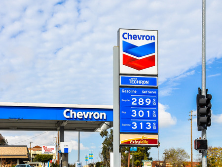 San Carlos, CA, USA - Jan. 10, 2016: Chevron Gas Station. Headquartered in San Ramon, CA, Chevron Corporation is an American multinational energy corporation. Redakční
