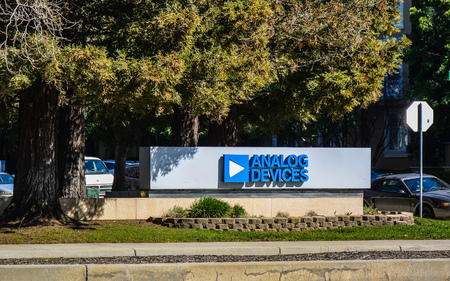 San Jose, CA, USA - Feb. 21, 2016: Analog Devices is a world leader in the design and manufacture of analog, mixed-signal, and DSP integrated circuits used in all types of electronic equipment.