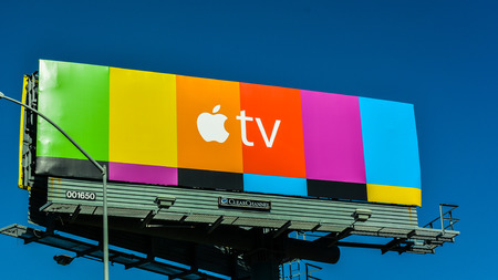 Berkeley, CA, USA - Jan. 31, 2016: Apple TV billboard on Hwy. 80. Apple TV is a digital media player and a microconsole developed and sold by Apple Inc.