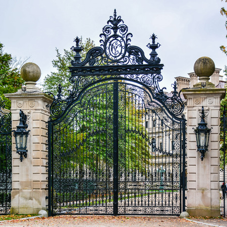 wrought iron: Gate to The Breakers, a Vanderbilt Mansion, a National Historic Landmark - Newport, Rhode Island Stock Photo