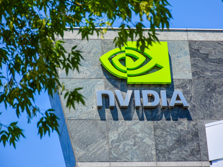 Santa Clara, CA, USA - Apr. 23, 2016: NVIDIA Corp. NVIDIA Corporation is an American technology company that designs graphics processing units (GPUs) for the gaming market, as well as system on a chip units (SOCs) for the mobile computing and automotive m Редакционное