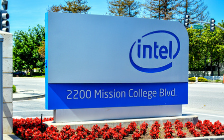 semiconductor: Santa Clara, CA, USA - Apr. 23, 2016: Intel Corp. Headquarters. Intel is an American multinational technology company that is one of the worlds largest and highest valued semiconductor chip makers. Editorial