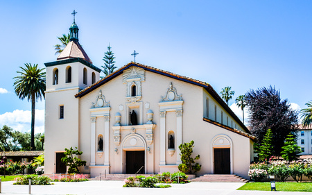 Mission Santa Clara de Asis, the 8th of the 21 missions established by the Spanish missionaries in the state of California. Today, the mission serves as the student chapel for Santa Clara University.
