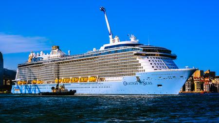 Sydney, Australia - Jan. 28, 2017: Cruise ship Ovation of the Seas moored in Sydney Harbour, Sydney, Australia. Ovation of the Seas entered service on 14 April 2016.