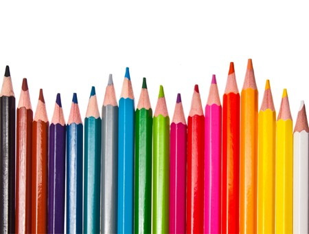 pastelky: colored pencils - isolated on the white background