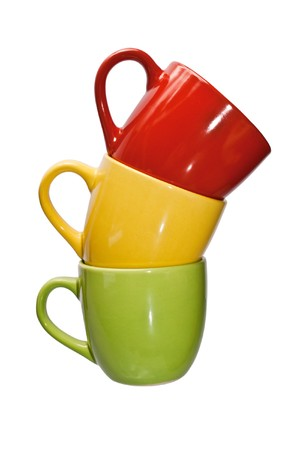 Three color cup - isolated on the white background