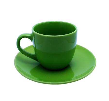 Green empty cup. Isolated on a white.