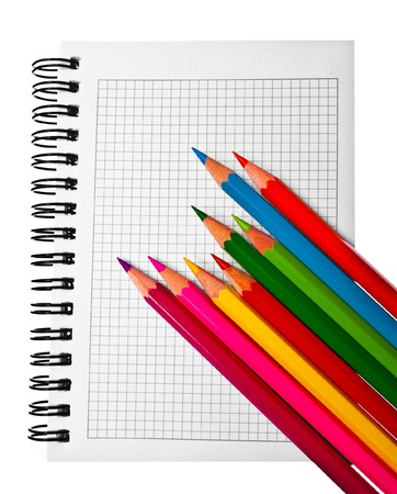 colored pencils on the datebook Stock Photo
