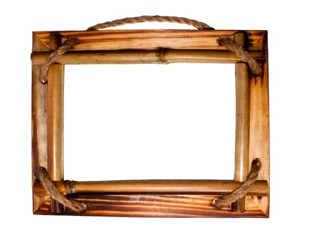 wood carving: wood frame on white background
