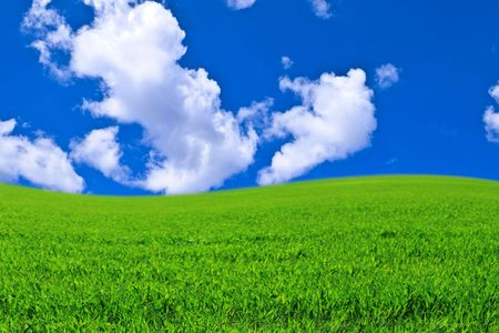 Green field against the sky and clouds Stock Photo - 7745676