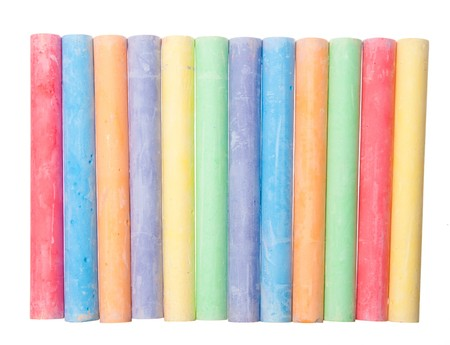 color chalk isolated on white background