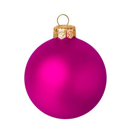 Balle de Noël rose terne sur fond blanc Banque d'images