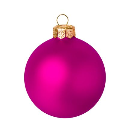 Pink dull christmas ball on white background photo