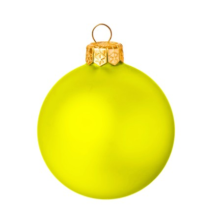 Yellow christmas ball on white background