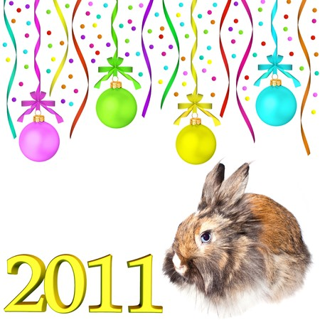 Rabbit (symbol of the new year 2011) and multi-colored dull christmas balls hanging on tapes isolated on white background Stock Photo - 8071614