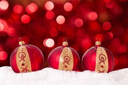 Christmas balls on abstract light background