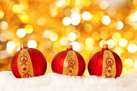 Christmas balls on abstract light background Stock Photo - 8071621