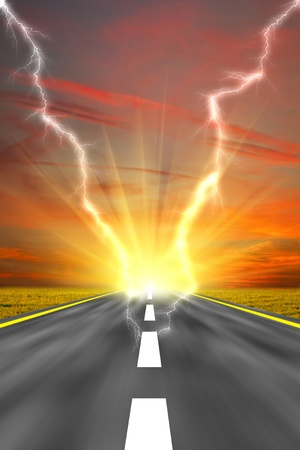 powerfully: Along the road. Sunset and lightning