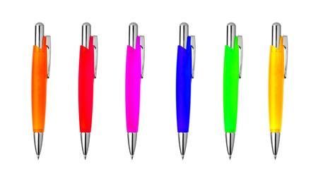 different colors pens isolated on the white