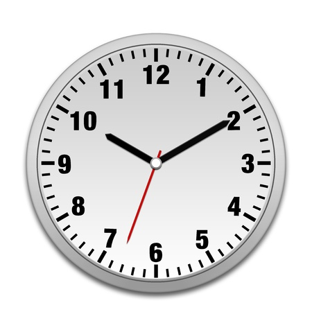 Silver wall clock isolated on white Stock Photo - 9007273