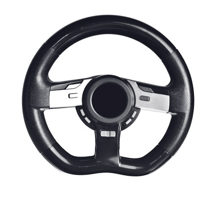 Steering wheel on the white background photo